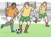 Sport-Info-Plattform (Bild: Fußball spielen © Lebenshilfe Bremen, Illustrator Stefan Albers, Atelier Fleetinsel 2013)
