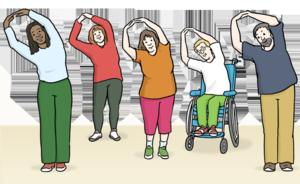 Sport und Bewegung sind vor allem auch in Zeiten von Corona wichtig (Bild: Lebenshilfe Bremen -  Illustrator Stefan Albers vom Atelier Fleetinsel im Jahr 2013)
