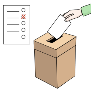 Wahlen für alle ohne Barrieren (Bild: ©Lebenshilfe Bremen, Illustrator Stefan Albers, Atelier Fleetinsel, 2013)