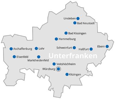 Unterfranken Karte.Lebenshilfe Bayern Unterfranken
